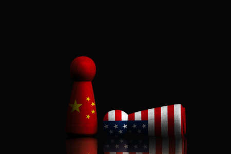 China figure standing and USA figure falling on dark background , China and United States of America technology and trade war concept.