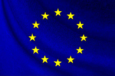 European Union or EU flag waving for background and texture , EU is business corporate from Europe countries.