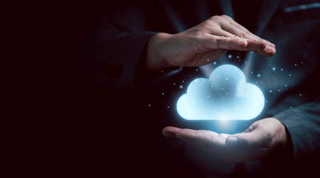 Gesture protect virtual artificial intelligence with cloud computing technology transformation and internet of thing. Cloud technology management big data include business strategy , customer service. 스톡 콘텐츠