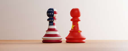 USA flag and China flag print screen on pawn chess on chess board for competition of business trade war and military between both countries. 3d render