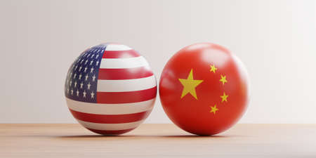 USA and China flag pint screen on balls for tariff trade war and military war between both countries conflict by 3d render. 스톡 콘텐츠