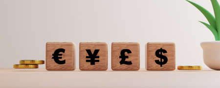 Main global currency print screen on wooden cube block such as Dollar Yen Euro Pound with golden coins for currency exchange by 3d render.