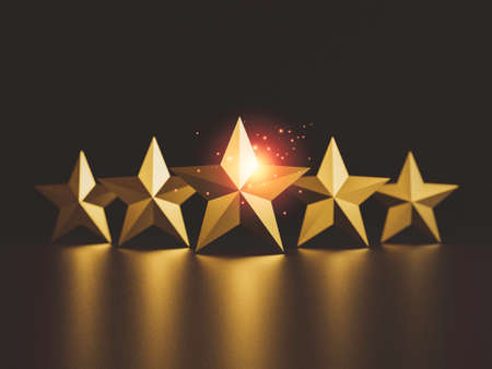 Gold five star on dark background for excellent rate of customer evaluation by 3d render.