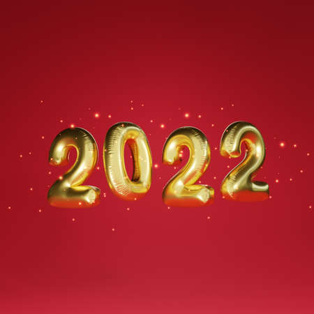 Golden 2022 year balloon with light glowing on red background for preparation merry Christmas and happy new year concept by 3d render technique.