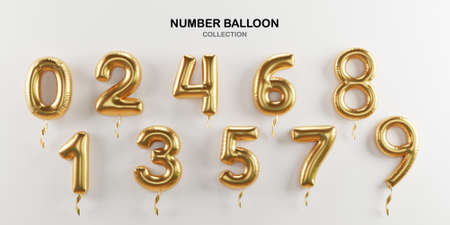 Isolate of golden number balloon 0 to 9 on white background for decorate merry Christmas , Happy new year ,valentine's day and Birthday cerebration party by 3D rendering.