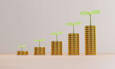 Increasing growth coins stacking with plant , investment profit and dividend money from saving concept by 3d render.