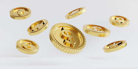 Isolation of US dollar golden coins flying on white background for investment and deposit saving concept by 3d render.