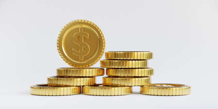 Isolation of US dollar golden coins stacking on white background for investment and deposit saving concept by 3d render.