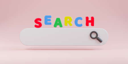 Minimal design white search bar with magnifier on pink background , Web search engine concept by 3D rendering.