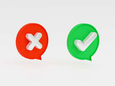 Isolated of Right and wrong icon inside bubble message on white background of green check mark and cross mark by 3d rendering. Banque d'images