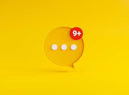 White dot illustration inside of yellow speech bubble on yellow background for chat sms and comment message by 3d rendering.