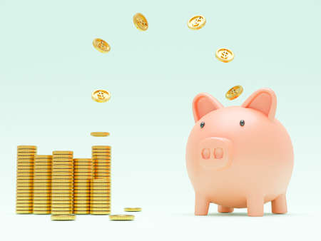 Golden coins flying and floating to piggy bank for creative financial saving and deposit concept with copy space , 3d render. Banque d'images