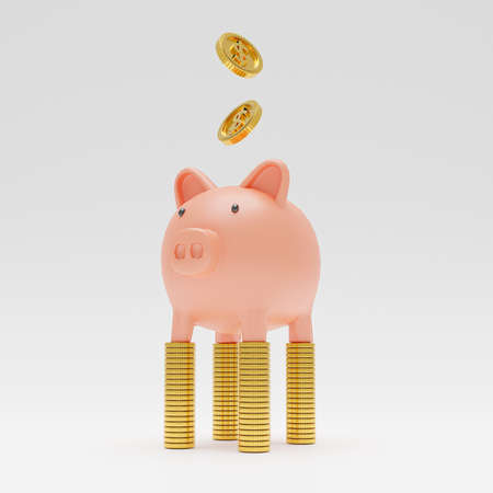 Isolated of Pink piggy banking standing on golden coins stacking with dropping coin on white background by 3d rendering. Banque d'images