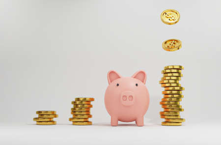 Pink piggy among increase coins stacking with Golden coins dropping for creative financial saving and deposit concept with copy space , 3d render.