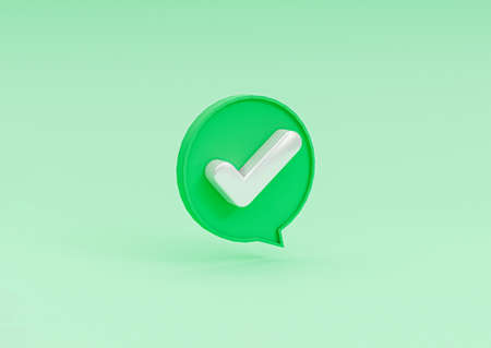 Isolated of correct icon inside bubble message on green background of check mark by 3d rendering. Banque d'images