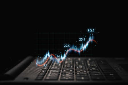 Trader using laptop computer with technical graph and chart for analysis stock market to investment concept.