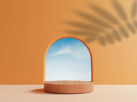 Cylinder wooden podium with minimal blue cloud sky scene from round window and leave shadow on orange wall for summer product stage display by 3d rendering technique.