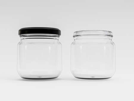 Isolate of transparent glass open and closed jar with black cover on white background by 3d rendering. Banque d'images