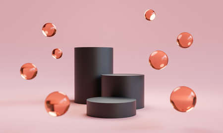 Triple step of black podium with glass balls on pink background for luxury cosmetic and fashion product stage display by 3d rendering technique.