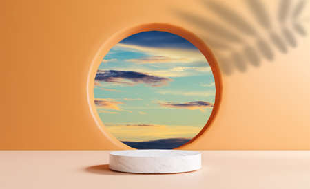 Cylinder marble podium with minimal blue cloud sky scene from circle window and leave shadow on orange wall for summer product stage display by 3d rendering technique.