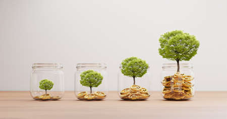Growth tree inside of transparent jar with golden coins on wooden table for investment and banking financial saving deposit concept by 3d rendering.
