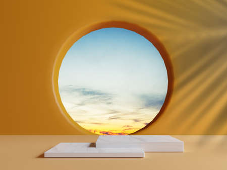 Double Square marble podium with minimal blue cloud sky scene from circle window and palm leave shadow on orange wall for summer product stage display by 3d rendering technique.