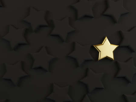 Golden star among black stars on dark background for different thinking idea or outstanding performance concept by 3d rendering.