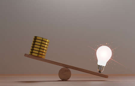 Unbalance of lightbulb glowing and golden coins money on seesaws for creative thinking idea can make more  treasure and money concept by 3d rendering.