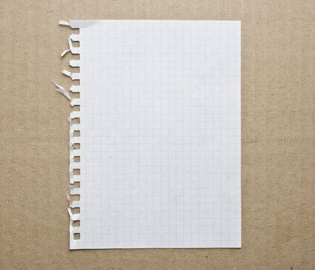 sheet: Blank note paper background on the cardboard