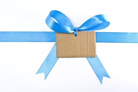 Ribbon, blue bow with card photo