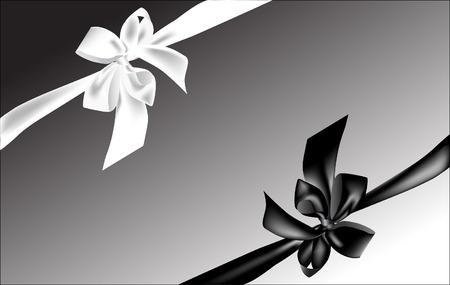 black ribbon:  Black and white bows