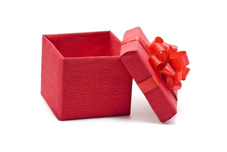 Open red gift box with bow