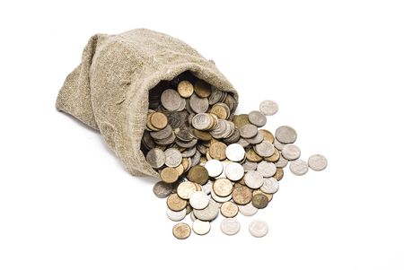 silver coins:  Bag with coins Stock Photo