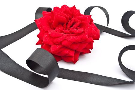 Red rose with black ribbon  photo