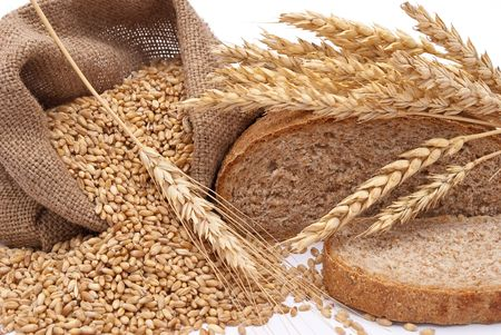 hessian bag: Bread a bag with wheat and ears