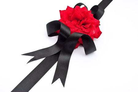 Red rose with black ribbon Stock Photo - 8033549