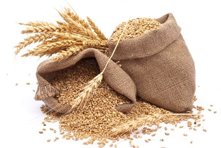 Sacks of wheat grains  Stock Photo