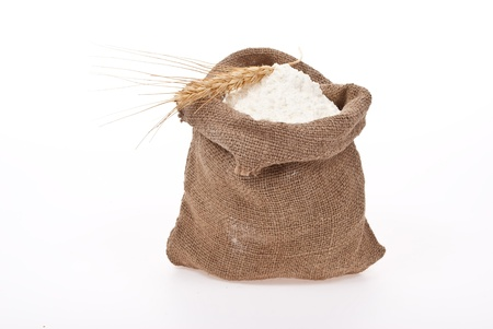 Whole flour with wheat ears  Stock Photo - 8892885