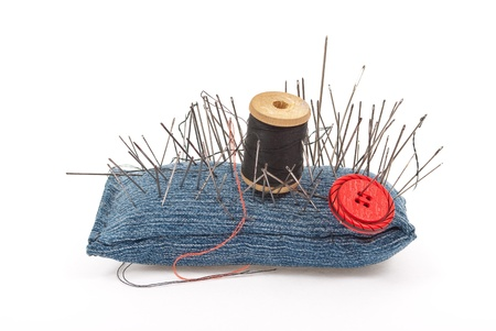 Pincushion with lot of needles  photo
