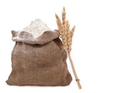 Flour and wheat ears photo