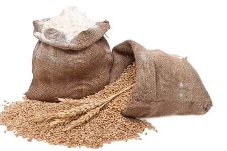 sack background: Flour and wheat grain