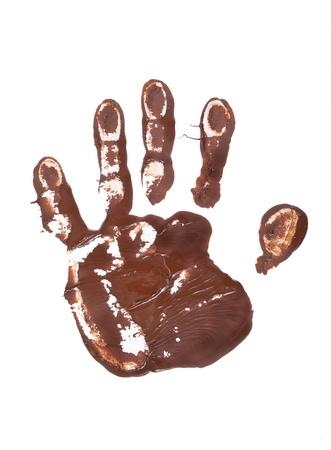 hand schilderen: Chocolade hand print