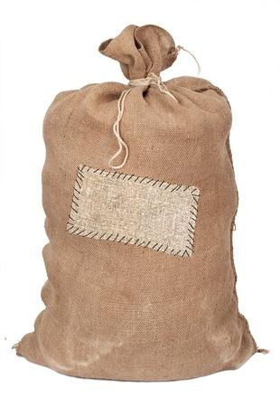 burlap bag: Big sack with label