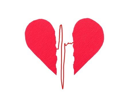 Broken red heart with ECG photo