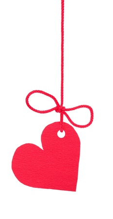 Bow with red tag heart  Stock Photo