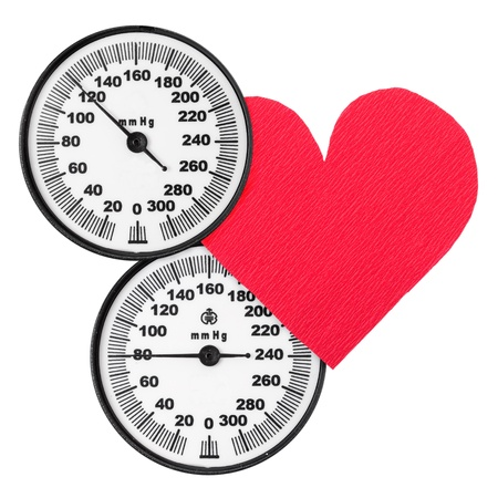 Blood pressure monitor scales and heart Stock Photo - 12314462