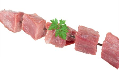 Pieces of raw meat on a skewer Stock Photo - 14953569
