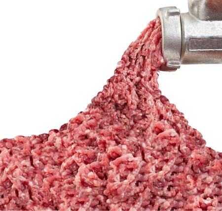 carcass meat: Mincer and a pile of chopped meat