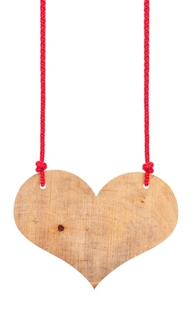 Wooden heart  on a ropes Stock Photo