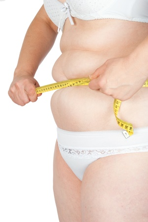 Fat woman measuring her stomach photo